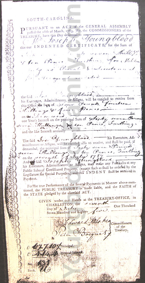 Joseph Youngblood Indented Certificate