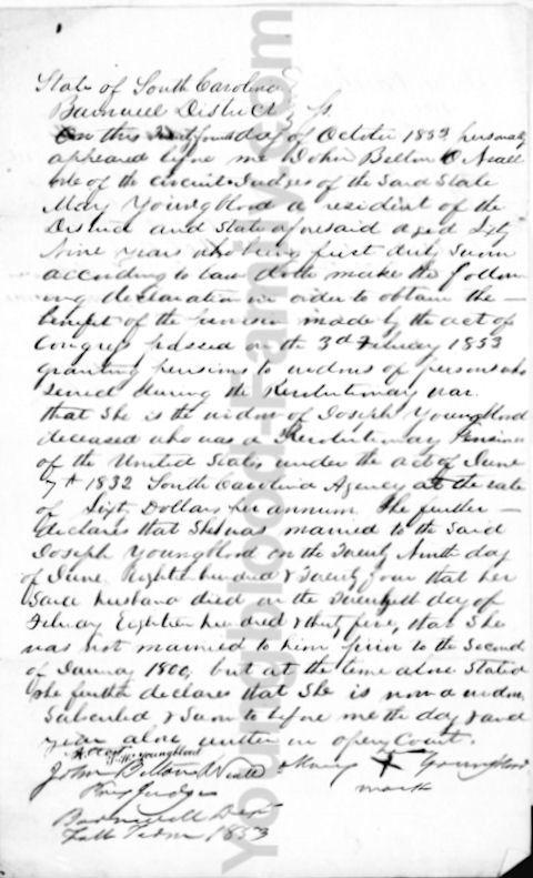 Revolutionary War widow's pension application of Mary Youngblood